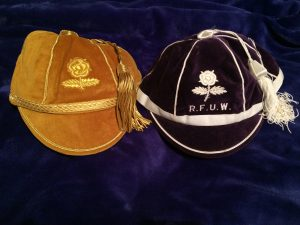Tamara's first (purple) and 100th (gold) England cap
